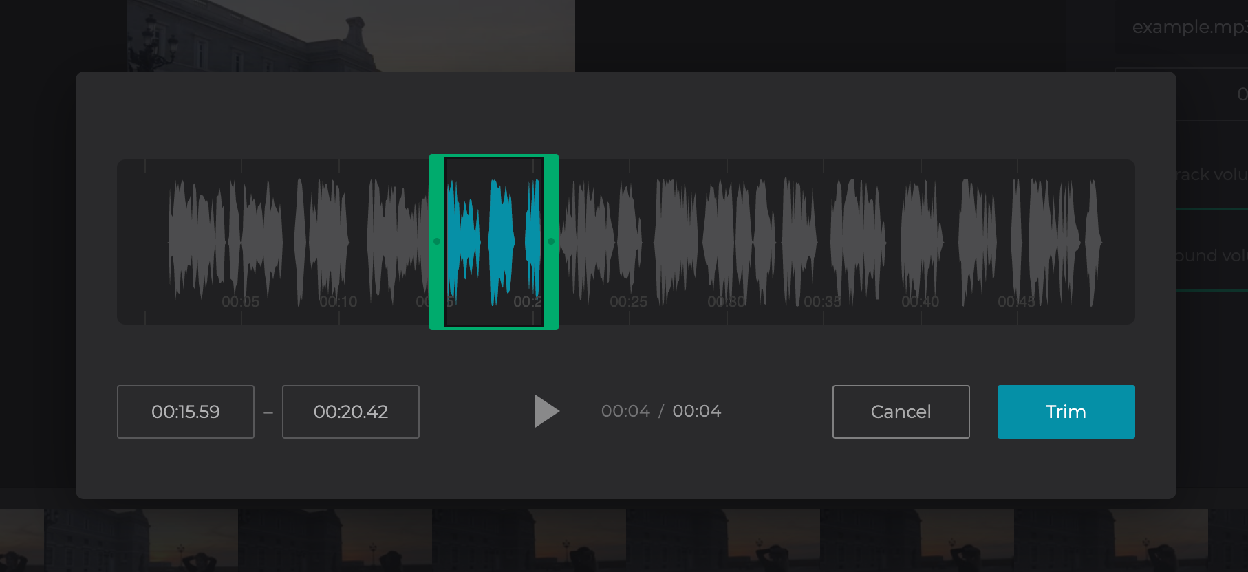 Cut audio for the Instagram video length