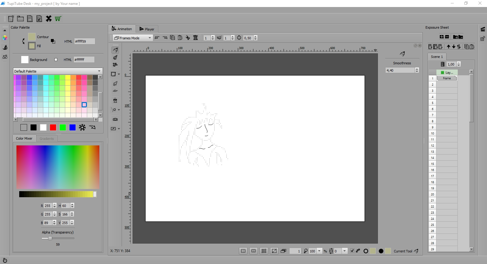 Features of the open source 2D animation software TupiTube
