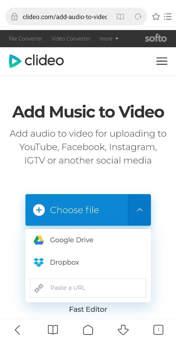 Upload a video from Android to add music