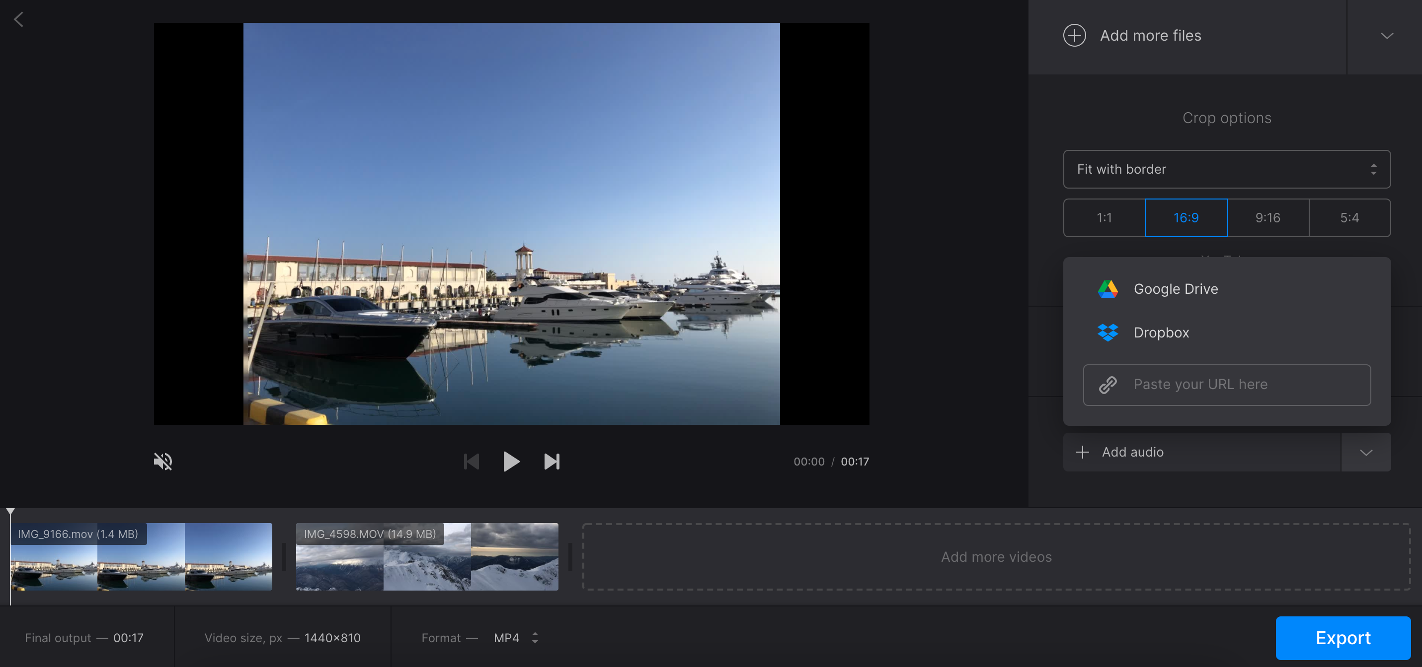 Upload audio for YouTube