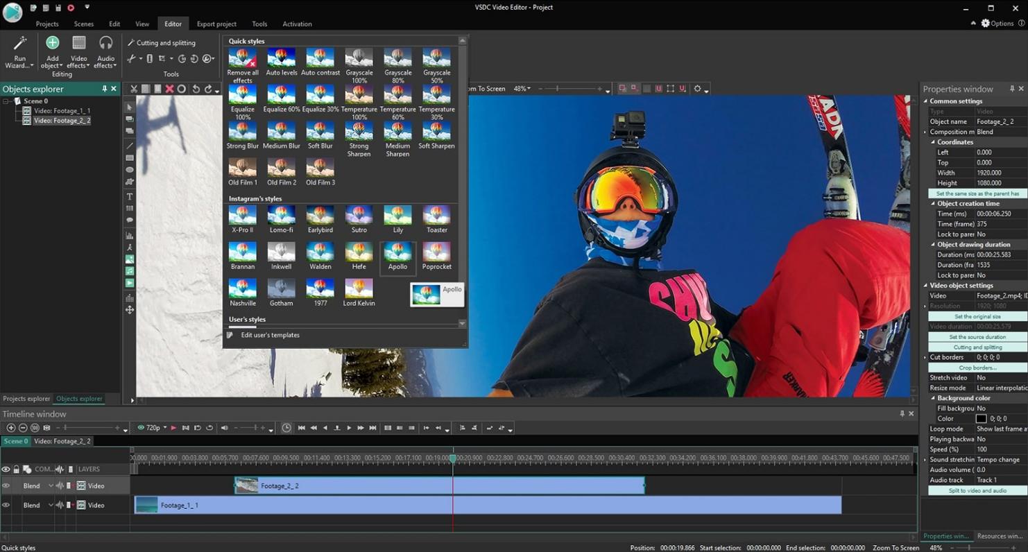 Video editing process in VSDC