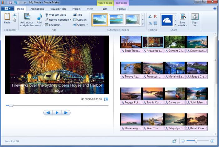 Features of the free video editing software Movie Maker for Windows